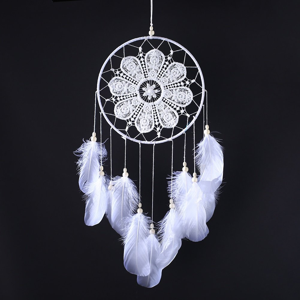 Gsha Lace Dream Catcher Handmade Wedding Dream Catcher with Feathers Party Home Decor