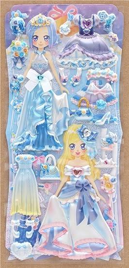 Pegatinas esponjosas muñecas vestir vestido fiesta azul cuenta brillante de Crux