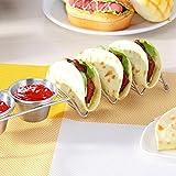 Taco Holder, Elevin(TM) Wave Shape Stainless Steel Taco Holder Display Holders Kitchen Food Rack Shells Pancake Holder (A)