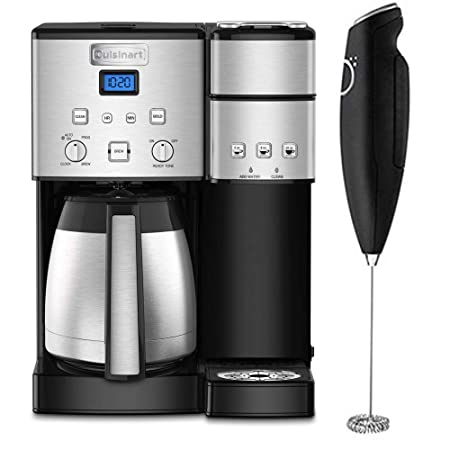 Cuisinart SS-20 Coffee Center 10-Cup Thermal Single-Serve Brewer Coffeemaker Silver SS-20 with Deco Gear Milk Frother Handheld Electric Foam Maker for Coffee, Latte, Cappuccino
