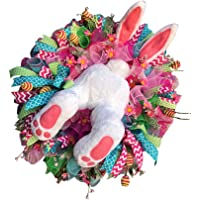 TOYANDONA Rabbit Easter Wreath with Plush Bunny Legs Easter Thief Bunny Butt with Ears Easter Tree Decorations for Wall…