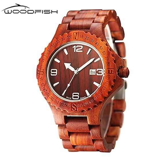 woodfish Mens Chronograp de madera retro relojes Vintage madera Analógica Reloj de pulsera: Amazon.es: Relojes