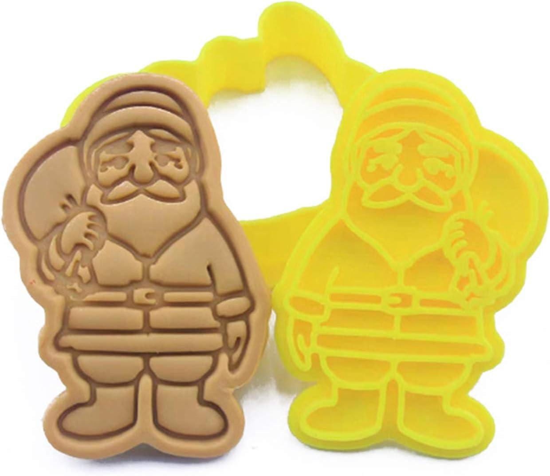 ybvyd Molde para tartas, forma de Papá Noel en 3D, molde para galletas, molde prensable para galletas y galletas, con grabado en relieve