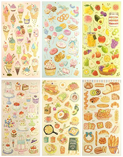 CL003-SWEET - Clear Gold Metallic Foil Sticker - 6 Different Sheets Decorative Craft Scrapbooking Sticker Set with Food Fruit and Dessert Boutique Themed Ornate Stickers