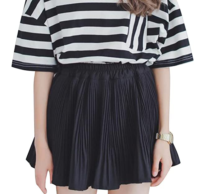 a4efa5759 Young Women Chiffon Short Skirts Ruffle Pleated A-Line Skater Mini Skirt  (Black)