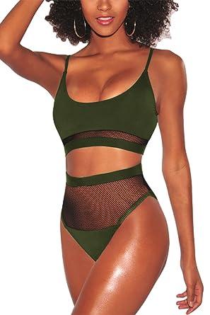 5657c5390e6 Pink Queen Women's Bandeau Mesh Splice Cheeky High Waist Swimsuit Army  Green S