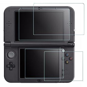 Protector de Pantalla para New Nintendo 3DS XL, AFUNTA 2 Packs Cristal Templado para la Pantalla Superior y 2 Packs HD Claro los Films de PET para la ...