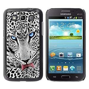 ROKK CASES / Samsung Galaxy Win I8550 I8552 Grand Quattro / BLUE EYE SNOW LEOPARD / Delgado Negro Plástico caso cubierta Shell Armor Funda Case Cover