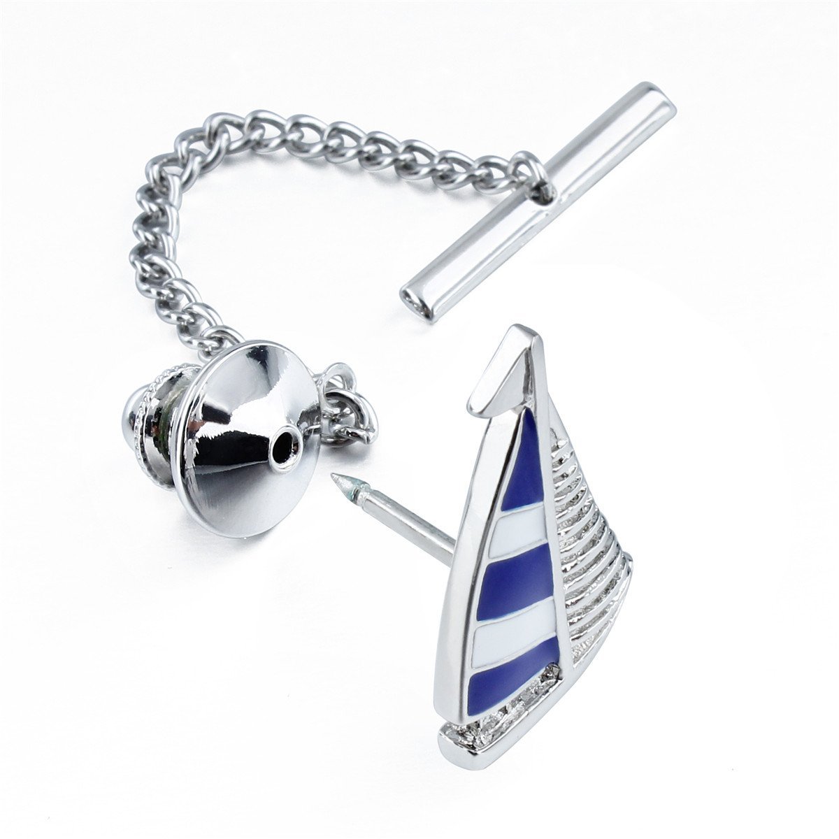 HAWSON Blue Tie Clip Tie Tack with Clucth Back Wedding Party Accessories - Sailing Boat Shape by HAWSON (Image #2)