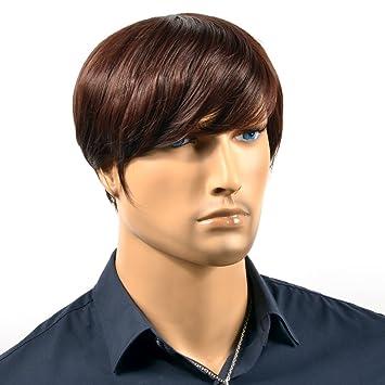 Amazon.com   Wigs For Men Dark Brown Men S Wigs Short Straight Front ... 0f4855fd2f69
