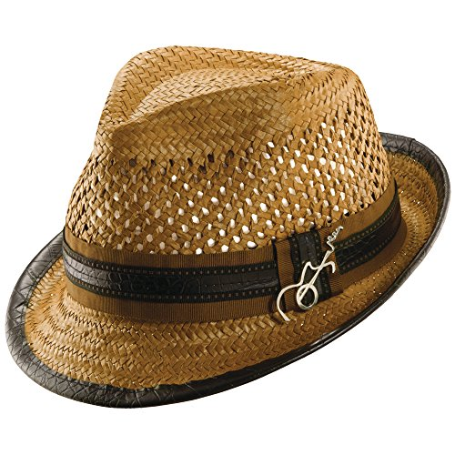 Santana New Carlos Mohican Fedora Breezer Toyo Straw Guitar Pin (Small/Medium, - Pin Hat Guitar