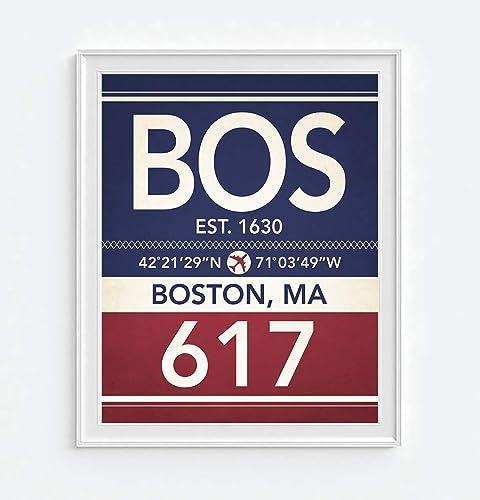 Subway Map Art Boston.Amazon Com Boston Massachusetts Vintage Airport Area Code Map