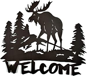 Mayrich Rustic Brown Moose Silhouette Welcome Sign, Decorative Cut Out Metal Wall Art, Home Décor Plaque for Cabin, Camp, Lakehouse or Mountain Chalet