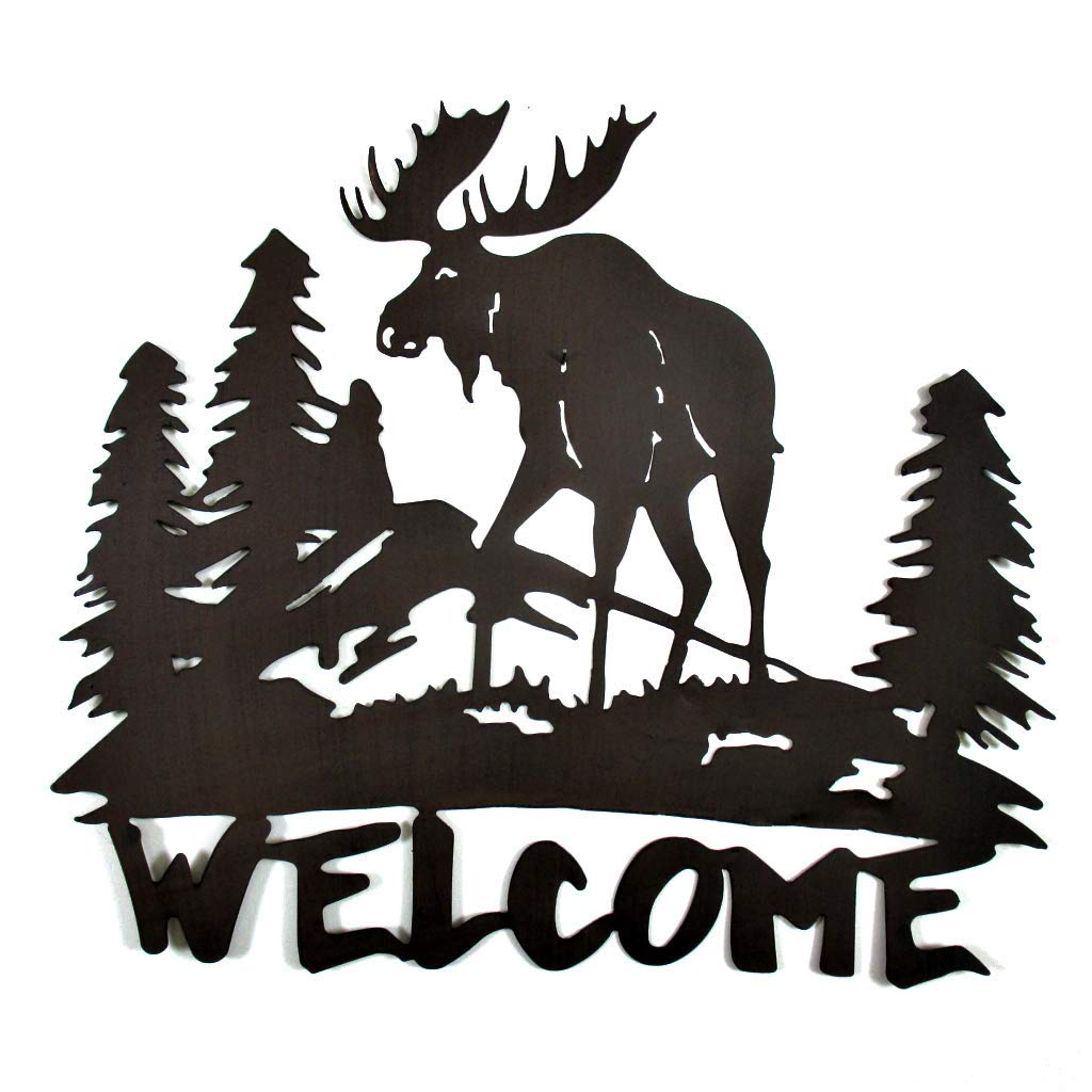 Large Metal Cutout  Moose Welcome Sign Plaque Wall Decor