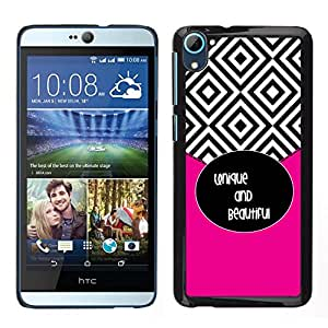 Caucho caso de Shell duro de la cubierta de accesorios de protección BY RAYDREAMMM - HTC Desire D826 - Azulejos Negro Blanco Hermoso texto