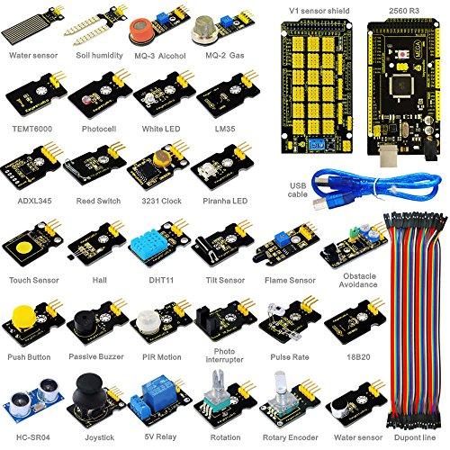 KEYESTUDIO Sensor Kit for Arduino Mega 2560 Arduino Uno R3 Arduino Micro Arduino Pro Mini, 30 Sensor Modules Kit with Tutorial and Mega 2560 by KEYESTUDIO