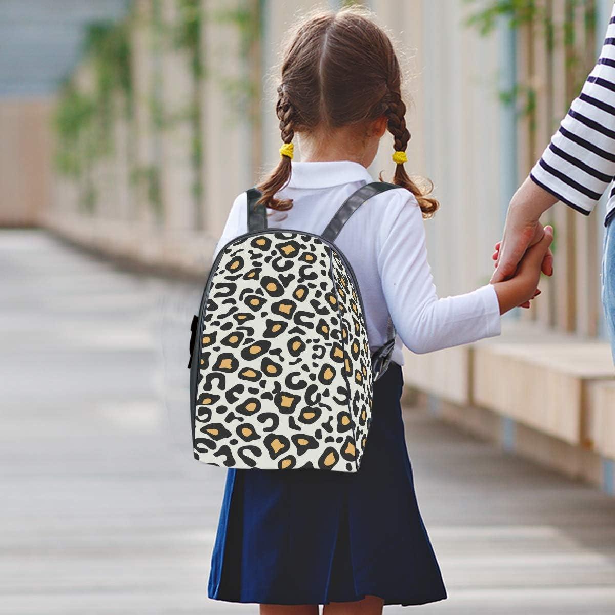 FANTAZIO Cool Leopard Print Slim Backpack Zipper Backpack Travel Bag for Kids