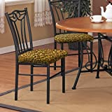Cheap 2 New Black Finish Metal Dining Chairs With A Leopard Animal Print Padded Seat Cushion Theme!