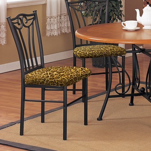 Amazon.com   2 New Black Finish Metal Dining Chairs With A Leopard Animal  Print Padded Seat Cushion Theme!   Chairs
