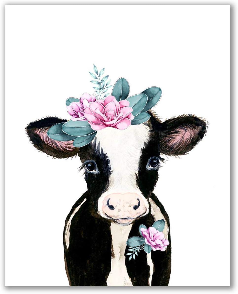 "Midoro Flower Crowned Brown Calf - Unframed, Brown Cow, Babby Cow, Nursery Animals, Girl Decor, Nursey Wall Decor, Girl Room, Cow Portrait, Baby Farm Animals (Flower Crowned, 8"" x 10"")"