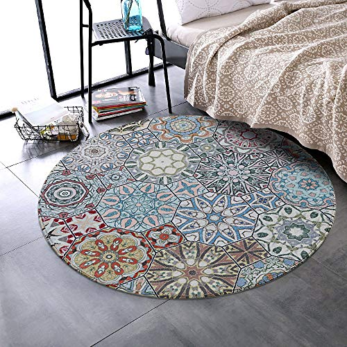 LEEVAN Round Wool Area Rug Traditional Throw Runner Rug Non-Slip Backing Soft Wool Floor Carpet for...