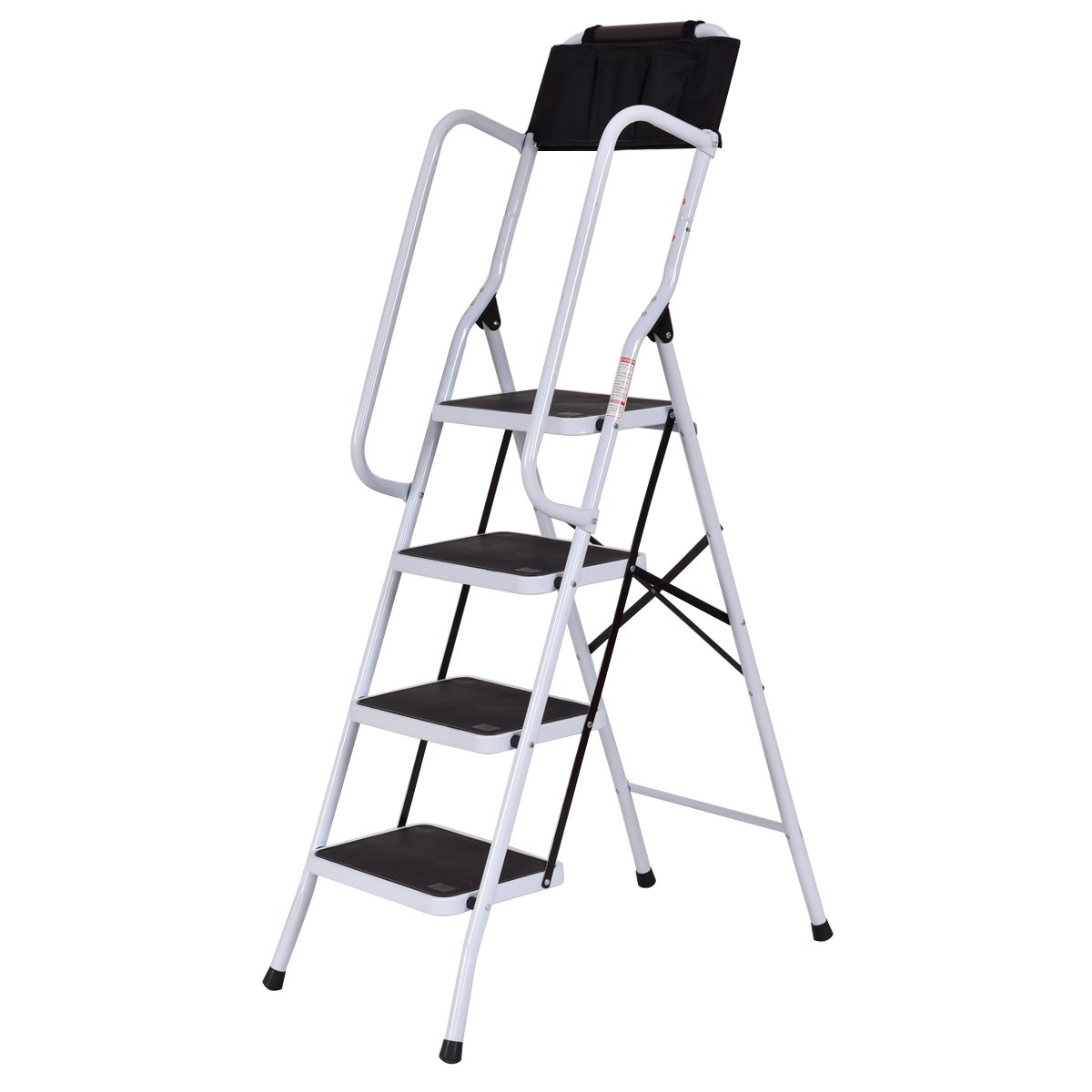 Toolsempire 2 in 1 Folding Non-Slip 4 Step Ladder with handrails and Tool Pouch Caddy 330lbs Capacity