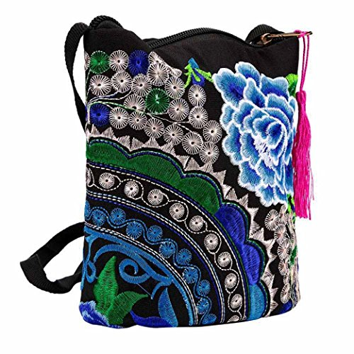 Price comparison product image GBSELL Women Vintage Handmade Embroidered Wristlet Clutch Wallet Crossbody Bag (Blue)