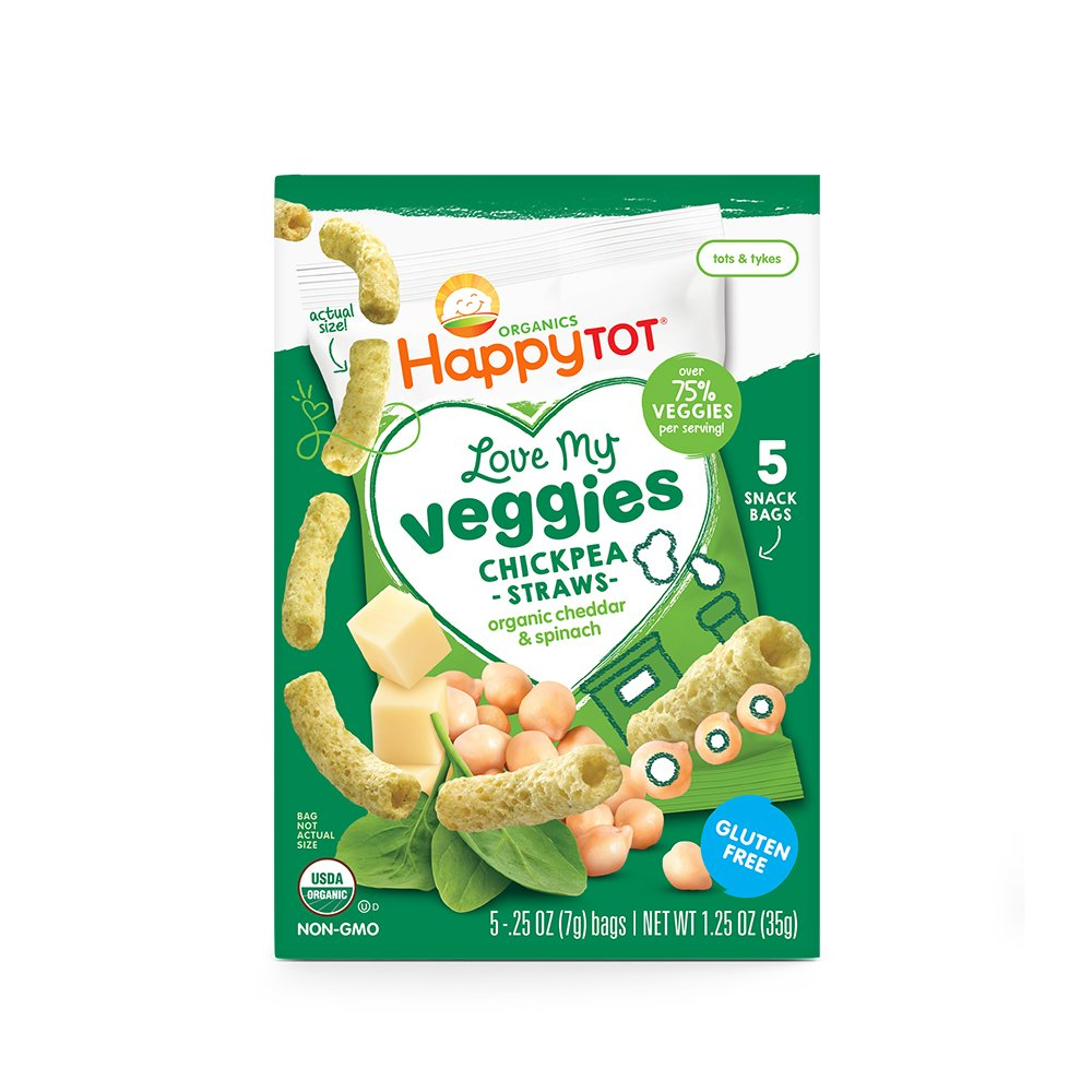 Happy Tot Organic Love My Veggies Chickpea Straws Cheddar + Spinach, 5 Count Box of 0.25 Ounce Packets (Pack of 6) Over 75% Veggies, Crunchy Toddler Snacks, Non-GMO Gluten Free Kosher Dairy