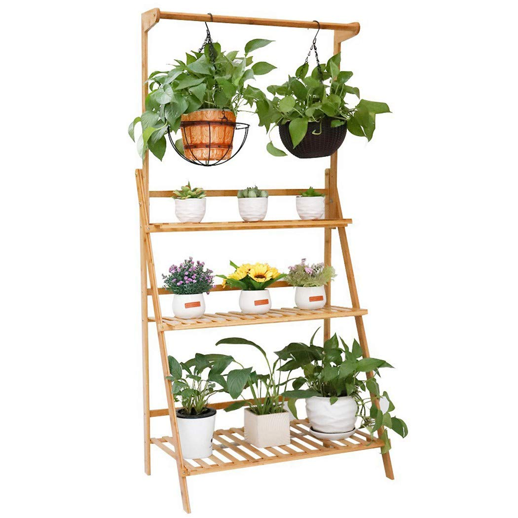 Bamboo Hanging Plant Shelf Foldable 3 Tier Ladder Stand Display Rack for Garden Flower Baskets Planters (70x40x96cm)