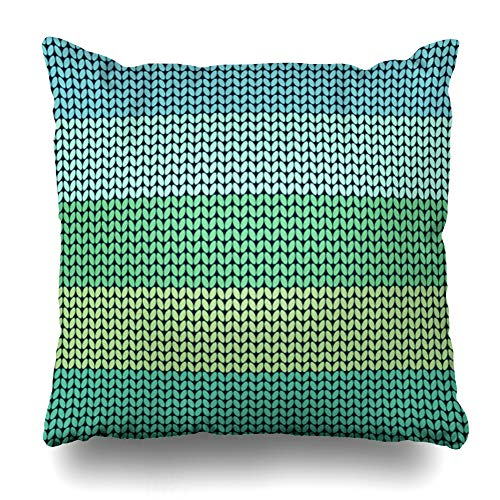 - Ahawoso Throw Pillow Cover Wool Blue Pattern Striped Abstract Green Canvas Classic Coarse Design Crochet Home Decor Pillowcase Square Size 20 x 20 Inches Zippered Cushion Case