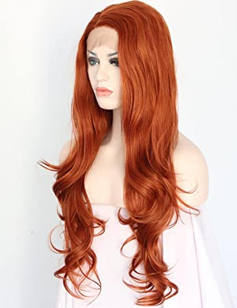 Women s Natural Wavy Copper Red Front Lace Wigs Glueless Synthetic Lace  Front Wig for Women Heat e4c82cfc7