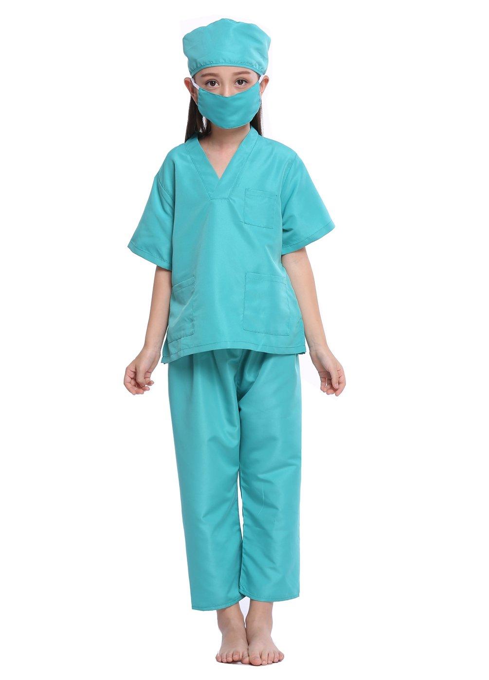 SamTaiker Kids Doctor Costumes, Children Toddler Nurse Doctor Role Play Costume Dress-Up Uniform Scrubs Set For Boys Girls (Surgical Green, 6-8)