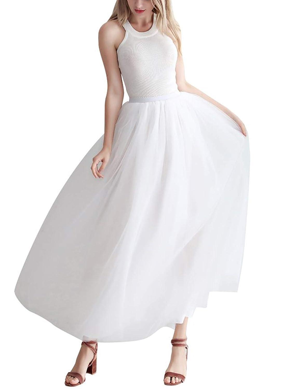 Aysimple Mujer Falda de Tul Larga de Tul Plisada Tutu Malla de Noche Fiesta Cintura Alta