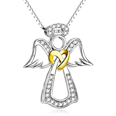 Sterling Silver Love Knot Guardian Angel Pendant Necklace Jewellery