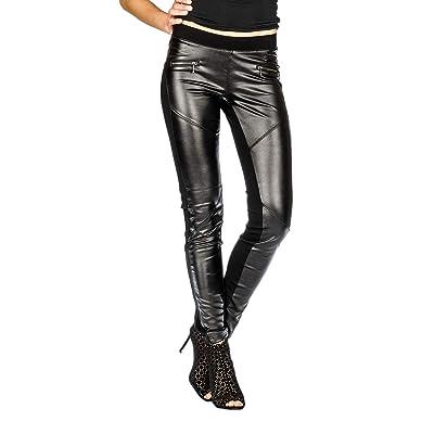 Suko Women's Leggings - Wax Coated Ponte Pants - Biker Moto Faux Leather at Women's Clothing store