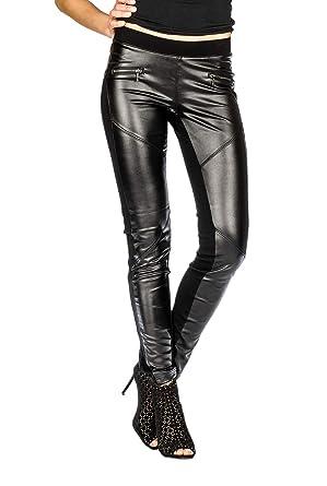 b72a363b4fae Suko Women s Leggings - Wax Coated Ponte Pants - Biker Moto Faux Leather  Black at Amazon Women s Clothing store