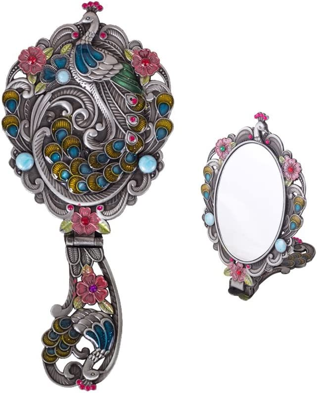 Moiom Vintage Style Foldable Oval Peacock Pattern Makeup Hand/Table Mirror (Antique Silver): Home & Kitchen