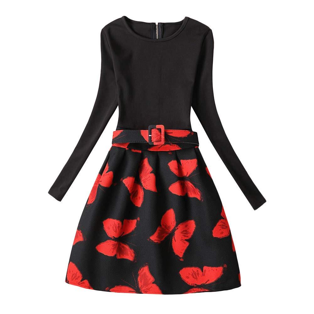 Lurryly❤Children Kids Long Sleeves Butterfly Print Princess Dress Girls Sundress Clothes 6-12T