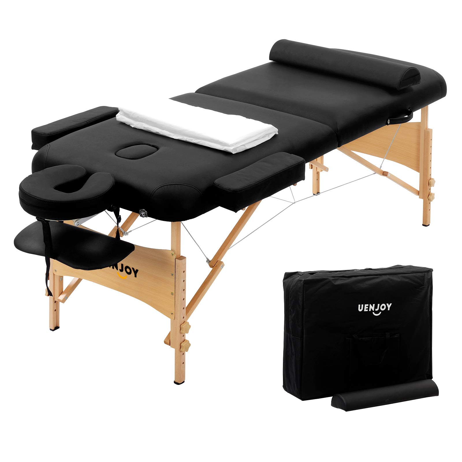 Uenjoy Massage Table 84'' Professional Folding Massage Bed Deluxe Model with Extra Width, Ultra-thick Sponge, PU Leather Surface & Additional Accessories, 2 Fold, Black by Uenjoy (Image #2)