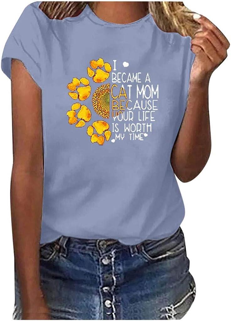 SoeHir Women Casual Sunflower Printing Short Sleeves O-Neck Loose T-Shirt Blouse Tops
