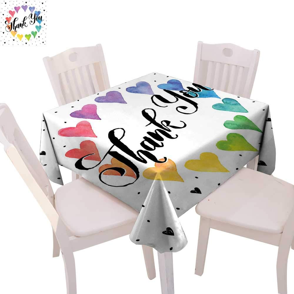 "cobeDecor Romantic Dinner Picnic Table Cloth Thank You Note with Rainbow Like Colored Round Made from Hearts Cute Sweet Image Waterproof Table Cover for Kitchen 36""x36"" Multicolor"