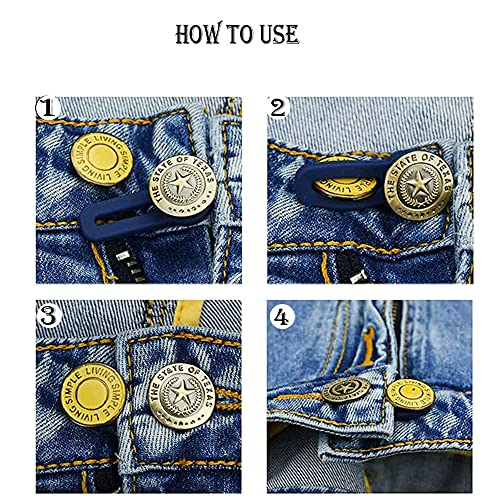 AXEN 8 Pieces Button Waist Extender, Elastic Stainless Steel Extender for Denim Jeans Trousers Pants Shirts Collars, Two Holes Add 2 inch