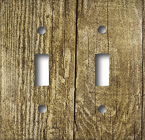 (Barn Wood Design Double Toggle Light Switch Wall Plate)