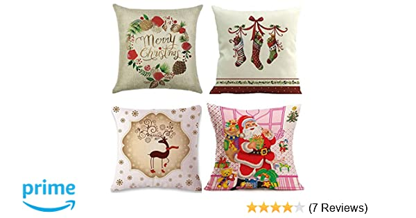 amazoncom christmas throw pillow covers 18x18 4pack funny decorative pillow covers cute throw pillow case square cushion cover home decor gift set home