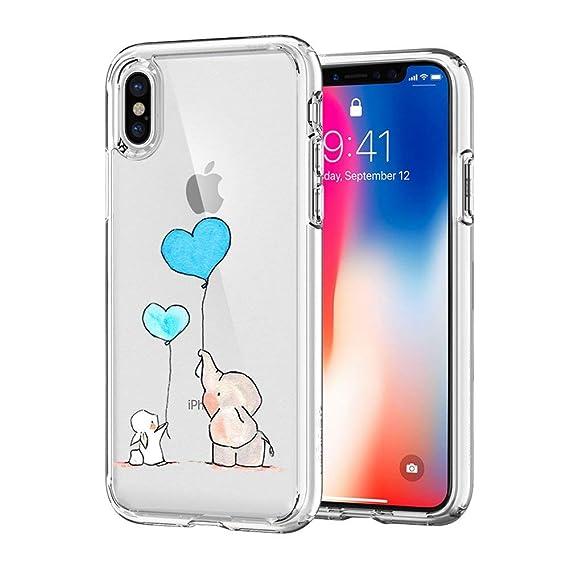 ea4c83457fa7 iPhone X Case, JICUIKE Lovely Animal Rabbit Print Amusing Whimsical Design  Clear Bumper TPU Soft
