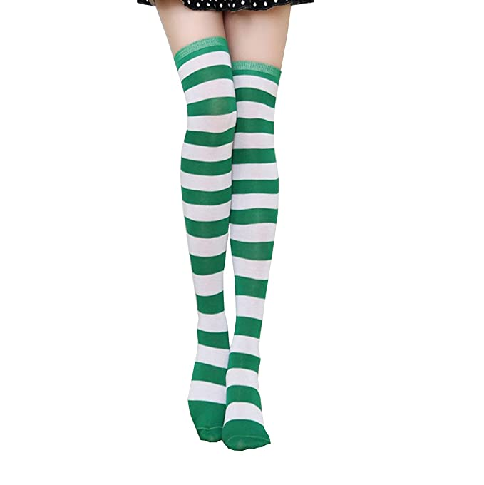 2a8e0d31474 Green Striped Thigh High Stockings Over Knee Extra Long Socks for Women    Men