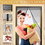 Magnetic Screen Door Heavy Duty Mesh Curtain Screen and Full Frame Velcro 3 Sizes Available To Fits Door Up To 34