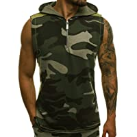Men Camouflage Print Sleeveless Vest, Male Lightweight Patchwork Contrast Hoodie Summer Fashion Tank Tops T-shirt Blouse Top