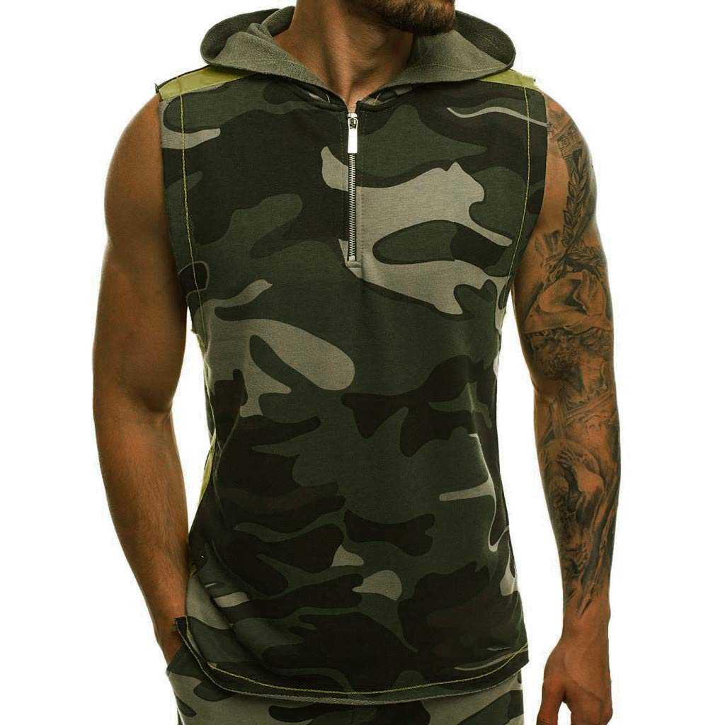 WUAI Mens Summer Tops Casual Slim Fit Camouflage Printed Short Sleeve T Shirt Athletic Workout Tops