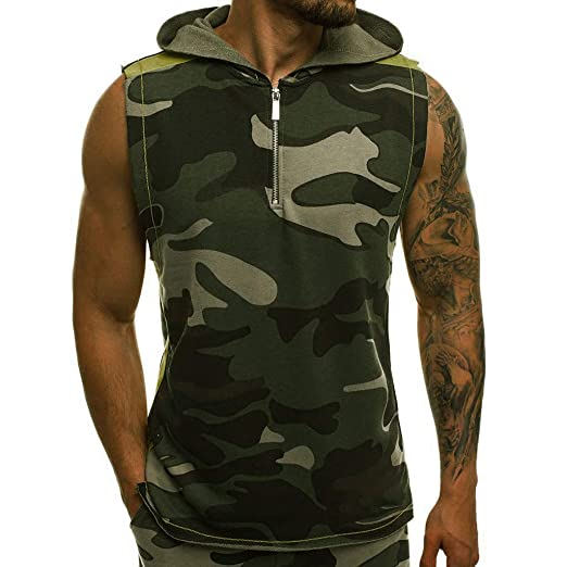 62ce50d81 Men's Camouflage Vest Jacket Lightweight Patchwork Sleeveless Zip-up ...